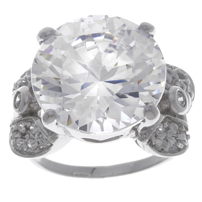 Sterling Essentials Sterling Silver Round CZ and Leaf Motif Ring