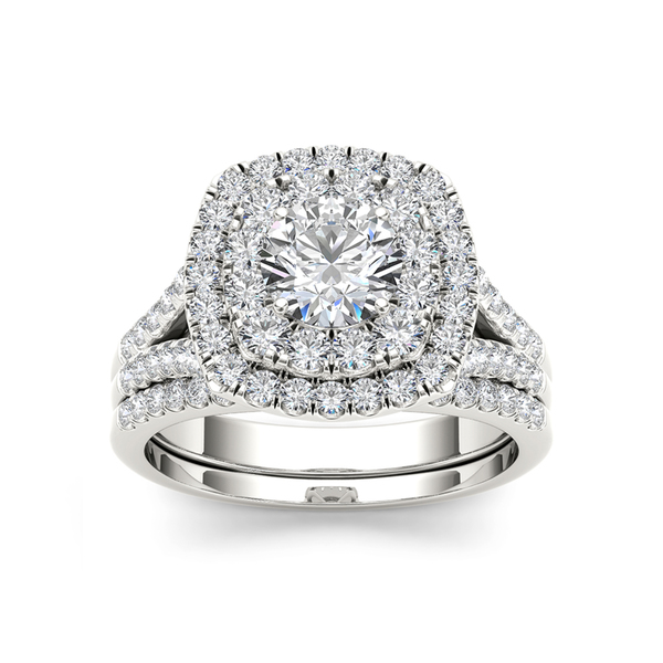 De Couer 14k White Gold 2ct TDW Diamond Halo Engagement Ring with One Band (H-I, I2)
