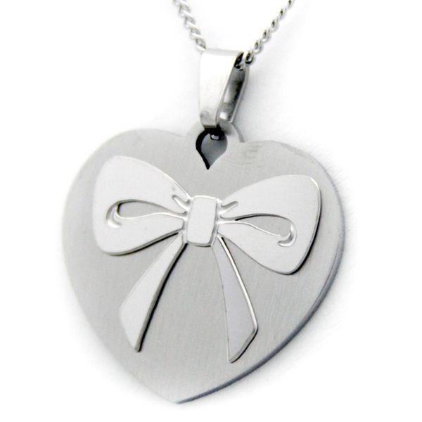 Heart Bow Granddaughter Necklace