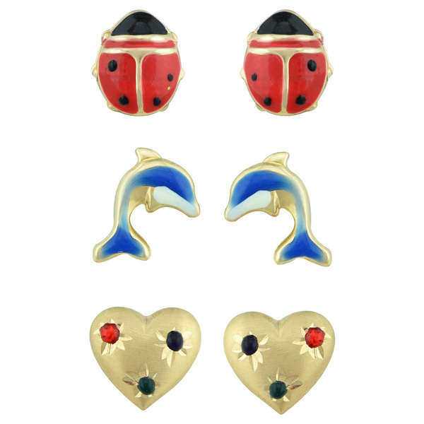 14k Yellow Gold Heart, Ladybug, and Dolphin Stud Earring Set