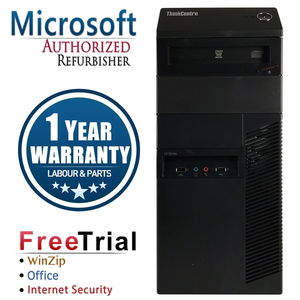 Refurbished Lenovo ThinkCentre M90P Tower Intel Core I5 650 3.2G 8G DDR3 1TB DVDRW Win 10 Pro 1 Year Warranty - Black