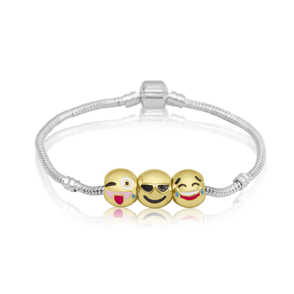 18K Gold Plated Emoji Charm Bracelet, 3 Charms Total!