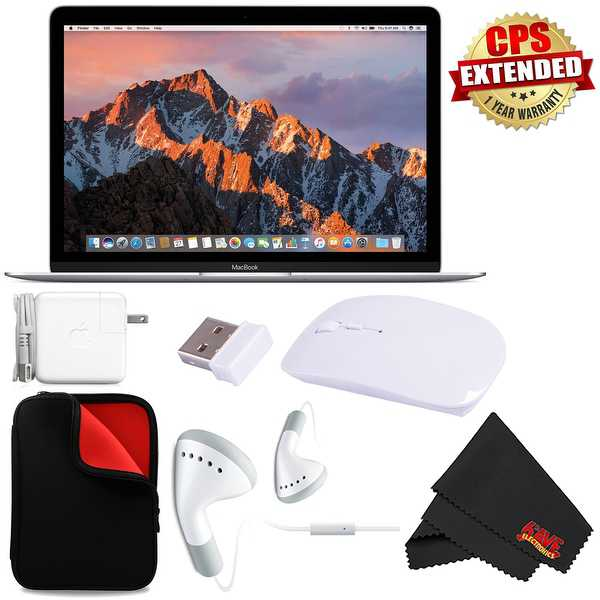 Apple 12' MacBook (Mid 2017 Silver) 256GB SSD #MNYH2LL/A + MicroFiber Cloth + Padded Case For Macbook Bundle